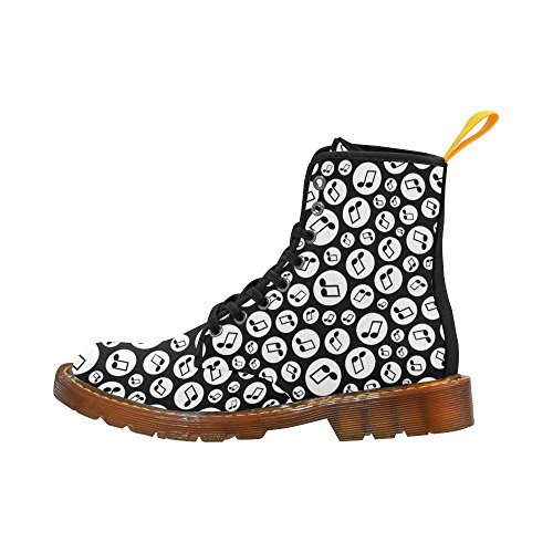 D-Story Shoes Seamless Music Note Lace Up Martin Boots For Women C776APte