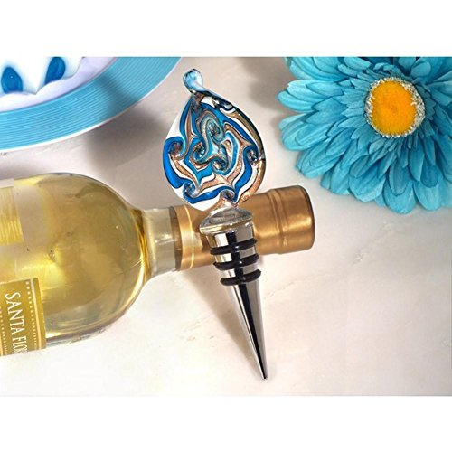 Murano Teardrop Design Teal and Gold Bottle Stopper - 84 Pieces by Cassiani