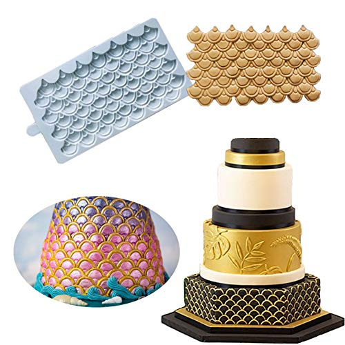 Cake Border Decoration Silicone Mold- BUSOHA Mermaid Scale Embossing Mat Dragon Scale Imprint Fondant Impression Mold Fish Scale Flower Lace Kitchen Tool, Sugarcarft Chocolate Candy Gumpaste Clay Moul ()