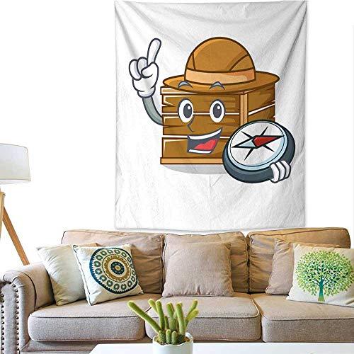BlountDecor Simple Tapestry Explorer Crate Mascot Cartoon Style 60W x 80L INCH