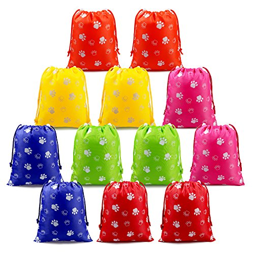 (Paw Party Supplies Favors Bags Drawstring Pouches for Kids Boys Girls Toddlers Birthday Party Favors 12 Pack)