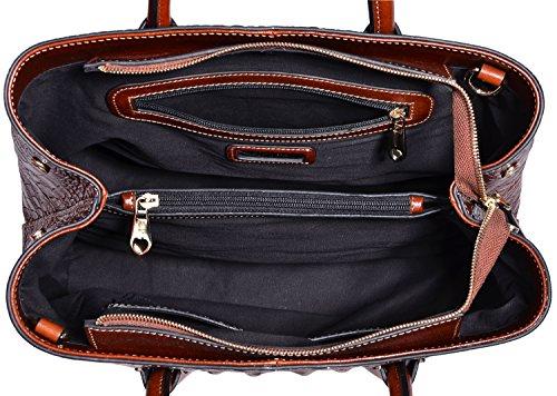 PIFUREN Women's Crocodile Embossed Handbags Genuine Leather Top Handle Purses E72110(Big Size, Green) by PIFUREN (Image #5)