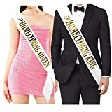 ''Homecoming King'' and''Homecoming Queen'' Sashes - Homecoming Party Prom Sashes School Party Accessories, White with Gold Print