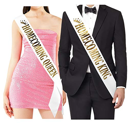''Homecoming King'' and''Homecoming Queen'' Sashes - Homecoming Party Prom Sashes School Party Accessories, White with Gold Print by TTCOROCK