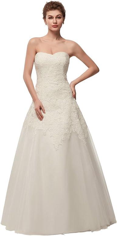 Lemondress Women S Lace Sweetheart Open Back Short Sleeve Ball Gown Wedding Dress At Amazon Women S Clothing Store