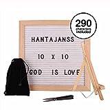 """HANTAJANSS Changeable Letter Board with 290 Characters Vintage Oak Frame Felt Board 10""""x10"""" (White)"""