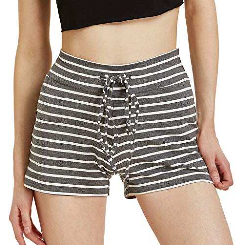 JOFOW Shorts Womens Striped Print Loose Comfy Sport Mini Pants High Waist A Line Soft Pajamas Bottoms Casual Gift Trousers (L,Dark Gray) ()