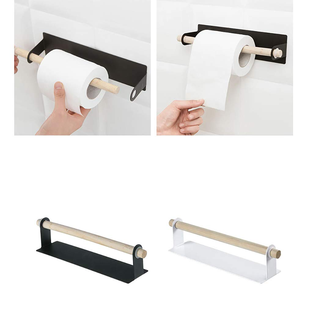 Onefa Paper Towel Holder Under Cabinet, Adhesive Wall Mount Paper Towel Holder for Kitchen, Bathroom, Pantry, Utility Room, Wall Mounted (Black)