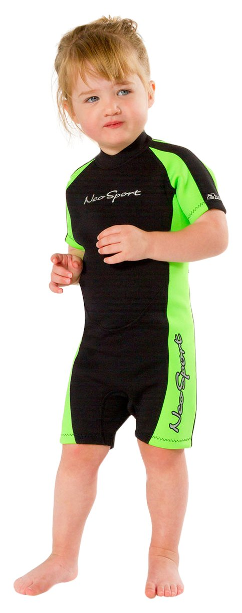 NeoSport Wetsuits Children's Premium Neoprene 2mm Shorty Wetsuit, Black/Lime, Size Eight by Neo-Sport