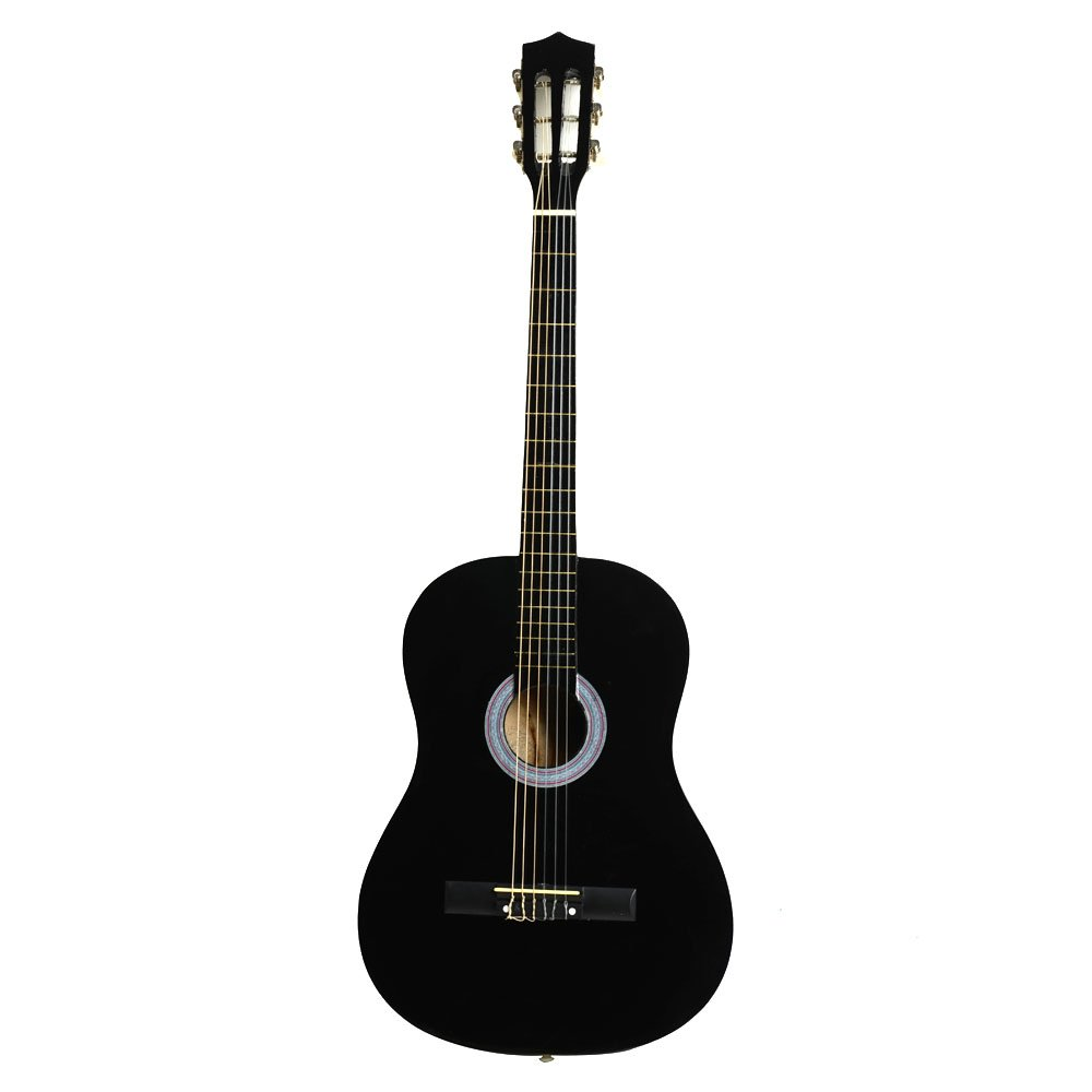 38'' Classical Acoustic Guitar with Pick (Black) by Spaco