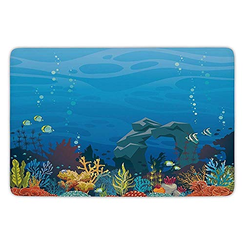 Bathroom Bath Rug Kitchen Floor Mat Carpet,Aquarium,Colorful Coral Reef with Fishes and Stone Arch Under The Sea Natural Seascape Decorative,Multicolor,Flannel Microfiber Non-Slip Soft - Aquarium Reef Natural Micro