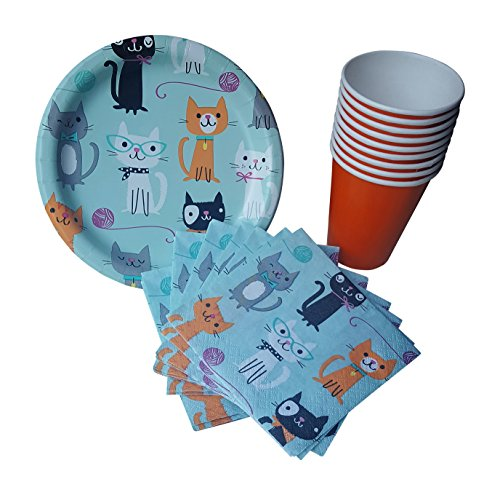 Cat Party Supplies - Cat Birthday or Halloween Party Dessert Plates, Napkins & Cups -