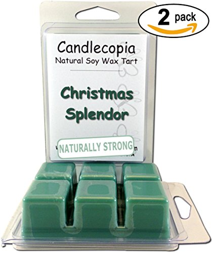 Christmas Soy Splendor Candle (Candlecopia Christmas Splendor Strongly Scented Hand Poured Premium Natural Soy Wax Melts, 12 Soy Wax Cubes, 6.4 Ounces in 2 x 6-Packs)
