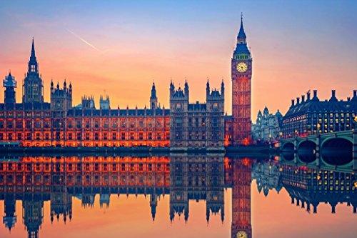 (Laminated Big Ben Houses of Parliament London Illuminated at Night Photo Art Print Sign Poster 12x18 inch)
