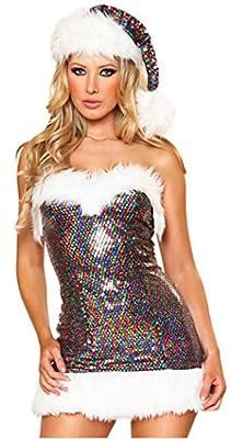 YeeATZ Christmas Package Hip Waist Sexy Sequined Plush Christmas Dress