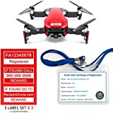 Mavic Air - FAA Drone Identification Bundle - Labels (3 sets of 3) + FAA UAS Registration ID Card for Commercial Pilots + Lanyard and ID Card holder