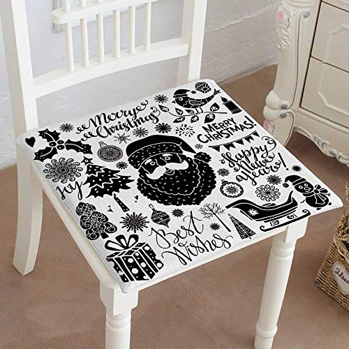 (Mikihome Outdoor Chair Cushion Icons Signs symbolswritten Text Santa Claus Tree Snowflakes Burn Candle Comfortable, Indoor, Dining Living Room, Kitchen, Office, Den, Washable 16