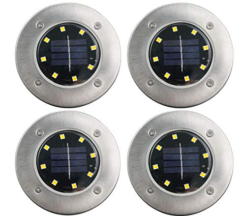 8 LED Bulbs Solar Ground Lights Garden Lights Outdoor for Patio Pathway Lawn Yard Driveway in-Ground Lights Solar Powered Waterproof (Warm White 4Packs)
