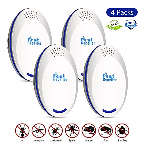BASA 2018 Newest Ultrasonic Pest Repeller,Pest Repellent,4 Pack Pest Control,Insect Repellent,Electronic Plug in Indoor for Flies,Mosquito,Mice,Stink Bug,Fleas by BASA