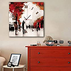 Giow Paris Eiffel Tower Street Couple Wall Clocks Canvas Art Painting Prints Decorative for Living Room Bedrooms Office Gifts,60x60cm