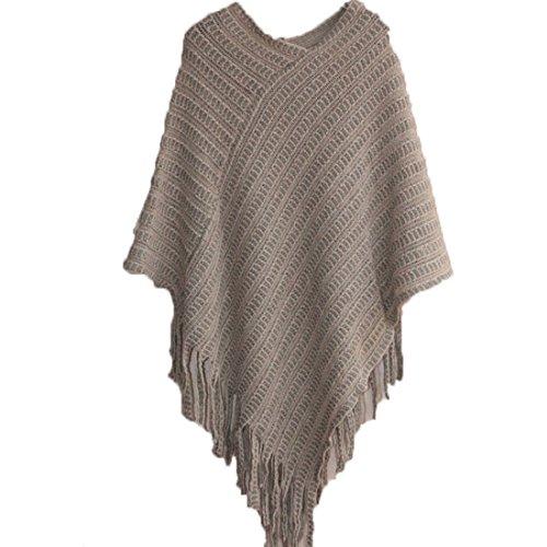 FCYOSO Womens Elegant Tassel Poncho Cape Shawls Batwing Knit Sweater Cloak One Size Khaki (Sahalie Cardigan)