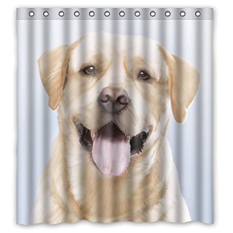 Funny Lovely Labrador Dog Shower Curtain, Shower Rings Included 100%  Polyester Waterproof 66u0026quot;