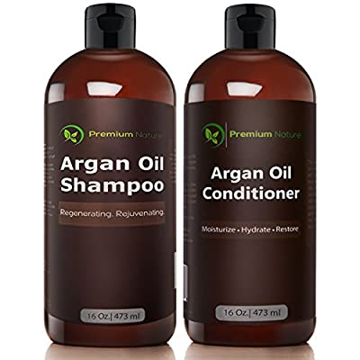 Argan Oil Shampoo and Conditioner Set - ( 2x 16oz) Sulfate Free All Organic Hair Repair - Volumizing & Moisturizing Hair Regrowth - Treatment for Hair Loss Premium Nature