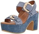 See By Chloe Women's Rafia Denim Platform Flip-Flop, Light/Pastel Blue, 37 M EU (7 US)