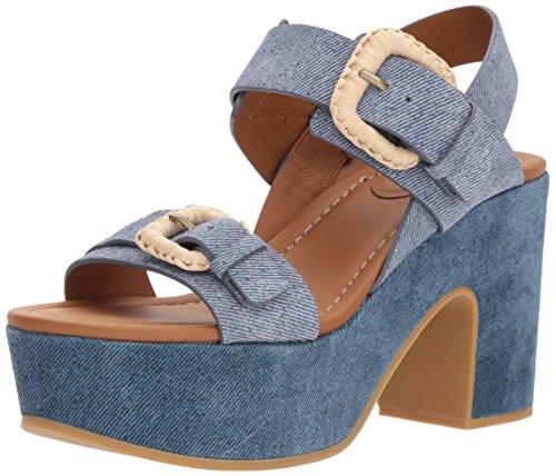 See By Chloe Women's Rafia Denim Platform Flip-Flop, Light/Pastel Blue, 37 M EU (7 US) by See By Chloe