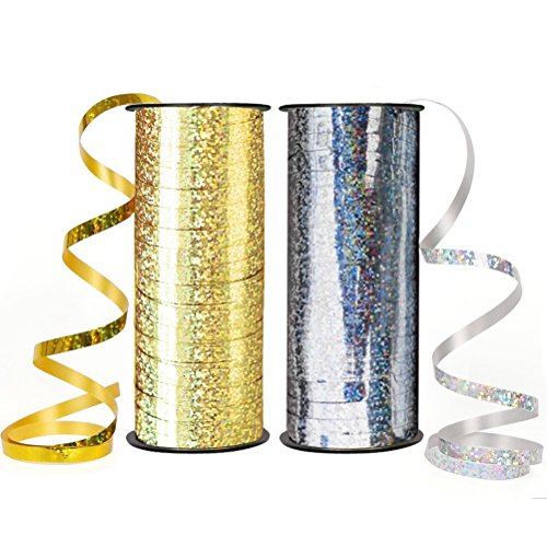 Craft Christmas Gift (Teemico 2 Pack Balloon Ribbon 100 Yards/91m Curling Ribbons for Parties, Festival, Florist, Crafts and Christmas Gift Wrapping (silver and gold))