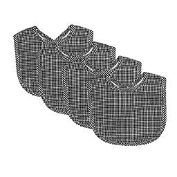 Trend Lab Gingham Seersucker Bib Set, Black, 4 Piece