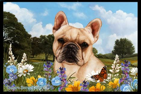 Best of Breed French Bulldog Cream Summer Flowers Floor Mat
