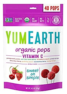 YumEarth Organic Vitamin C Lollipops, 40 lollipops
