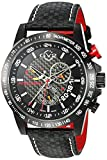 GV2 by Gevril Scuderia Mens Chronograph Swiss Quartz Alarm GMT Black Leather Strap Sports Racing Watch, (Model: 9900)