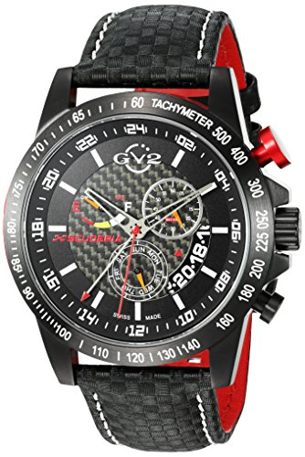 Usa Quartz Carbon (GV2 by Gevril Scuderia Mens Chronograph Swiss Quartz Alarm GMT Black Leather Strap Sports Racing Watch, (Model: 9900))
