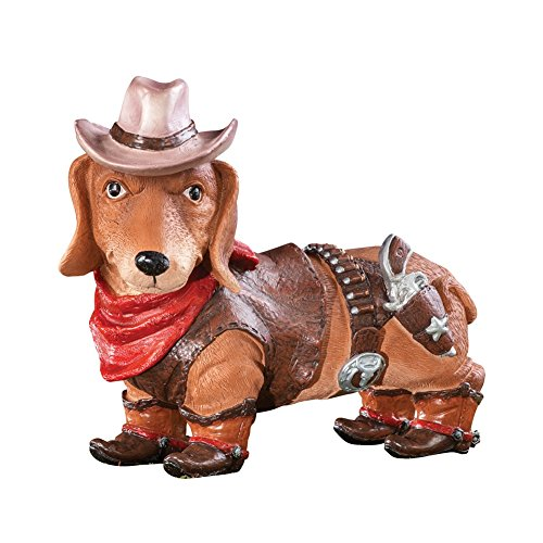 Dachshund Cowboy Dog Statue Brown