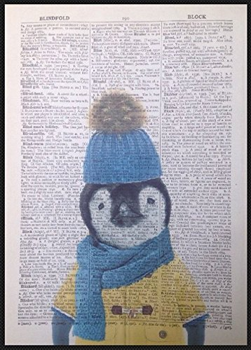 Baby Penguin vintage Dictionary page Picture Wall Art Print cute Animal Winter homemade