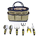 Gardening in the fresh air and sunshine is a real stress-buster when you have the right tools. This SONGMICS 7-piece Garden Tool Set is perfect for all gardens and indoor plants. The durable garden tote bag with 6 pockets can hold the tools securely ...