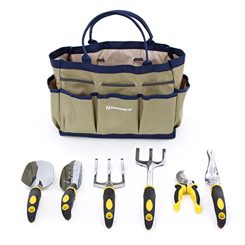 7 Piece Garden Tool Set Includes Garden Tote and 6 Hand Tools
