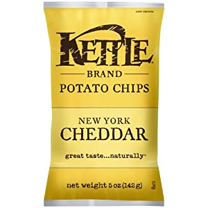 Kettle Brand Potato Chips, New York Cheddar, 5-Ounce Bags (Pack of 8)