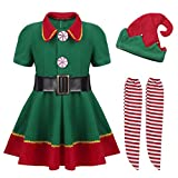 ZTie Childrens Girls Kids Festive Party Holiday Santas Elf Costume Christmas Outfits Fancy Dress up Xmas Clothing Suit