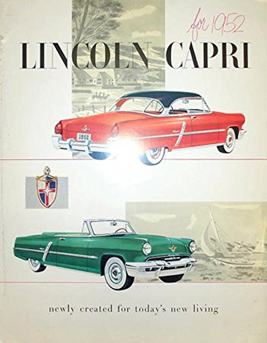 1952 Lincoln Capri Sales Brochure Literature Book Piece Advertisement ()