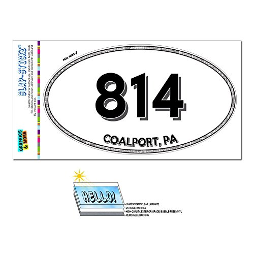 Graphics and More Area Code Euro Oval Window Laminated Sticker 814 Pennsylvania PA Clarion - Elton - Coalport