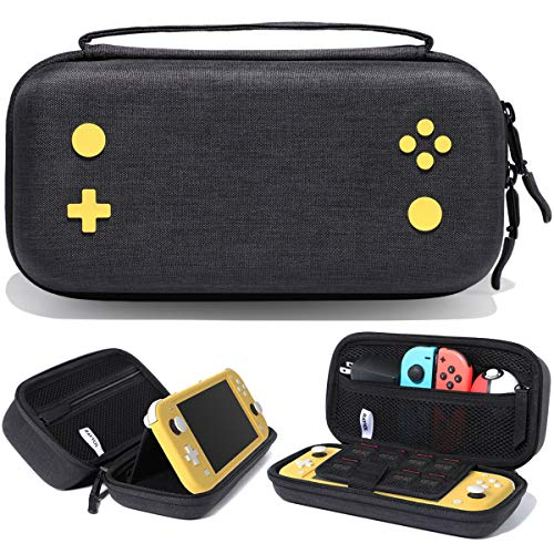 Rayvol Carrying Case for Nintendo Switch Lite, [Large Capacity] Fits AC Adapter, Pokeball Plus and Accessories, Protective Portable Hard Shell Travel Bag with 15 Game Card Slots, Color Black