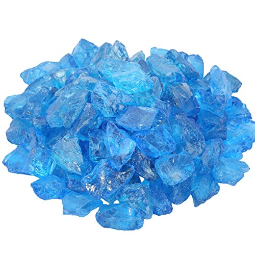 SUNYIK Blue Titanium Coated Rough Crystal Point Raw Rock Quartz Cluster Specimen 0.5lb (0.5
