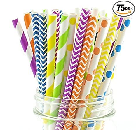 25x Novelty Paper Disposable Drinking Straws for Halloween Party Bar Accessories