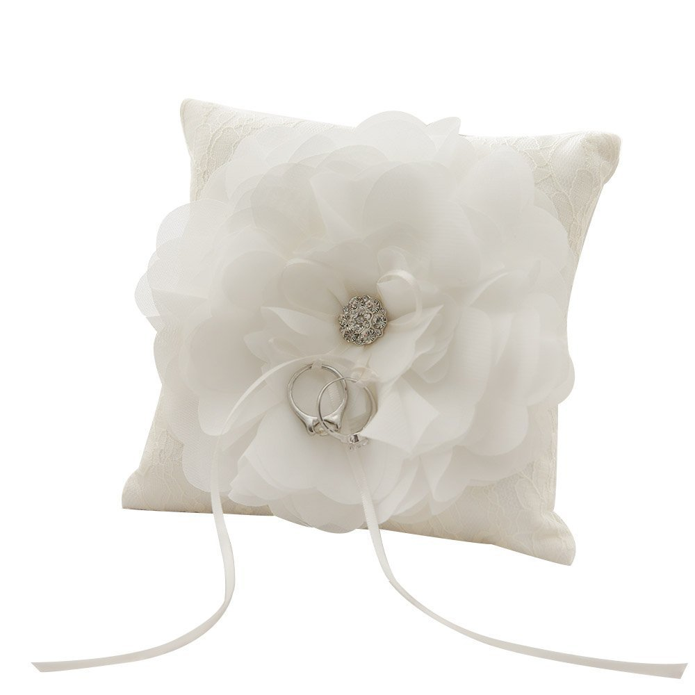 WoodBury Wedding Ring Bearer Pillow Floral Beaded Lace Ivory(6 Inch x 6 Inch)
