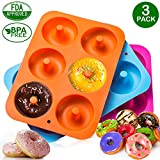 3-Pack Donut Baking Pan of 100% Nonstick Silicone. BPA Free Mold Sheet Tray. Makes Perfect 3 Inch Donuts. Tray Measures 10x7 Inches. FDA Approved Food Grade. Easy Clean, Dishwasher Microwave Safe