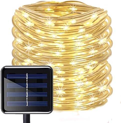 LED Schlauch Lichterkette,KINGCOO Wasserdicht 39 ft/12 m 100 LED Solarlichterkette Röhrenlicht Seil Kupferdraht Weihnachtsbeleuchtung Lichter für Hochzeit Garden Party Außenlichterkette(WarmWeiß)