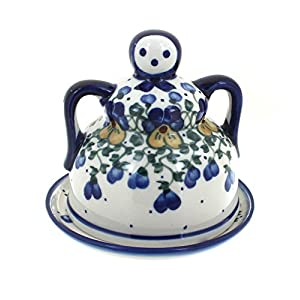 Blue Rose Polish Pottery Pansies Medium Cheese Lady